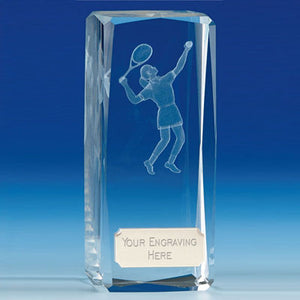 "Clarity Female Tennis Crystal Block Award 11.5cm (4 1/2"") OK032"