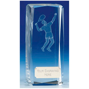 "Clarity Male Tennis Crystal Block Award 11.5cm (4 1/2"") OK033"