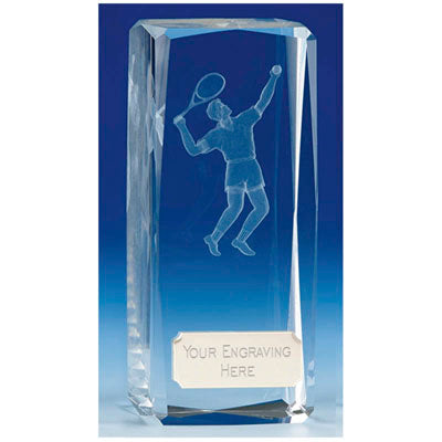 Clarity Male Tennis Crystal Block Award 11.5cm (4 1/2