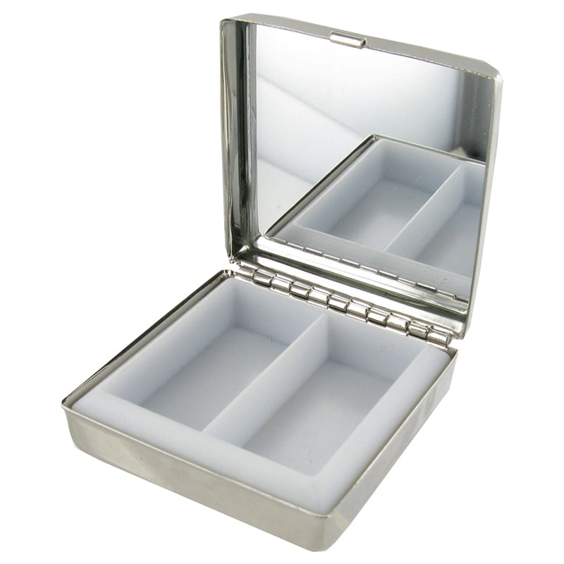 OTL06N SQUARE PILL BOX WITH MIRROR STAINLESS STEEL 5CM