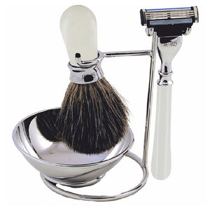 OTLSHV04 WHITE 3 PIECE SHAVING SET ON STAND INCLUDES BADGER BRUSH