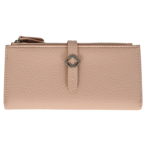 FAUX LEATHER GRAINED TABBED LARGE FOLDING PURSE DUSKY PINK  rjsmith-son.co.uk