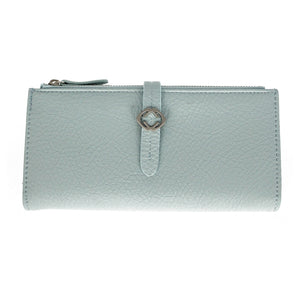 FAUX LEATHER GRAINED TABBED LARGE FOLDING PURSE LIGHT BLUE   rjsmith-son.co.uk