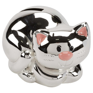 SSP206 KITTEN WITH PINK EARS MONEY BOX. SILVER PLATED. 6.5CM HIGH