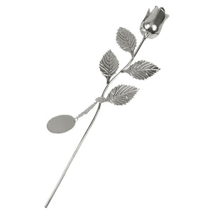 SSP212 SILVER PLATED ROSE WITH SILVER BUD AND OVAL ENGRAVING TAG