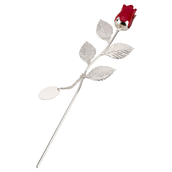 SSP214 SILVER PLATED ROSE WITH RED BUD AND OVAL ENGRAVING TAG