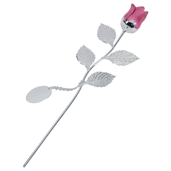 SSP216 SILVER PLATED ROSE WITH PINK BUD AND OVAL ENGRAVING TAG