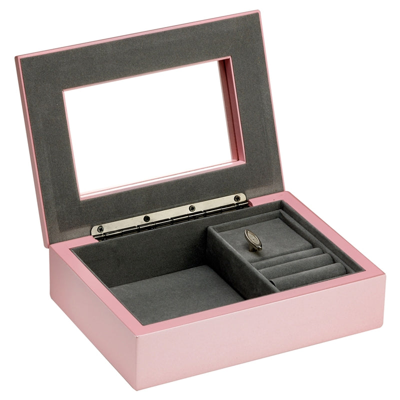 SSP302 PINK MUSICAL JEWELLERY BOX - 17.5 X 12.5 X 5CM