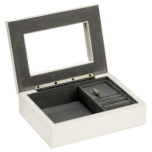SSP304 WHITE MUSICAL JEWELLERY BOX 17.5 X 12.5 X 5CM