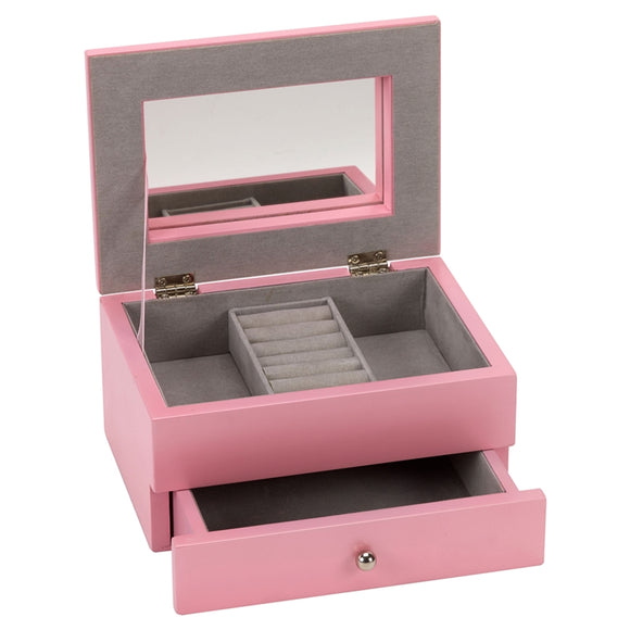 SSP306 PINK JEWELLERY BOX WITH DRAWER 17.5 X 12.5 X 9CM
