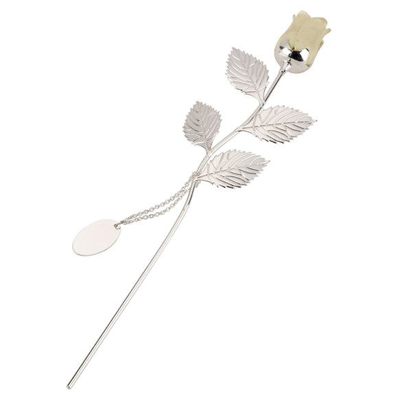 SSP310 SILVER PLATED ROSE WITH IVORY BUD AND OVAL ENGRAVING TAG