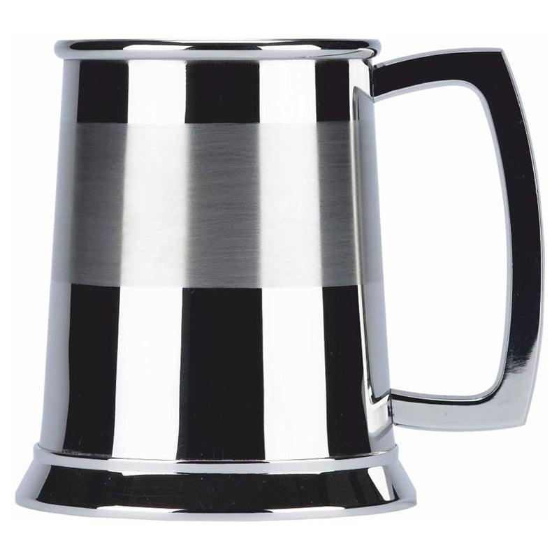 SST102 SATIN BAND ONE PINT STAINLESS STEEL TANKARD