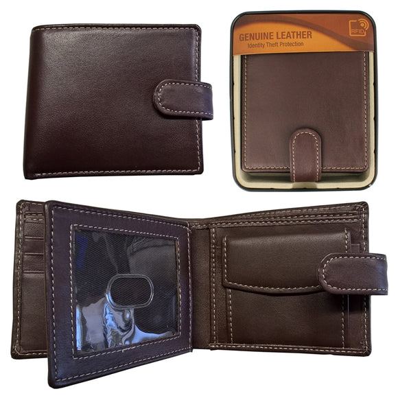 WAI002BR RFID SHEEP LEATHER WALLET IN TIN BROWN WITH CONTRASTING STITCHING