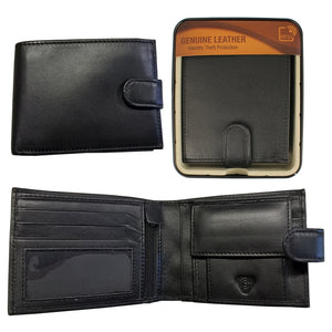 WAI004B RFID SHEEP LEATHER WALLET IN TIN BLACK