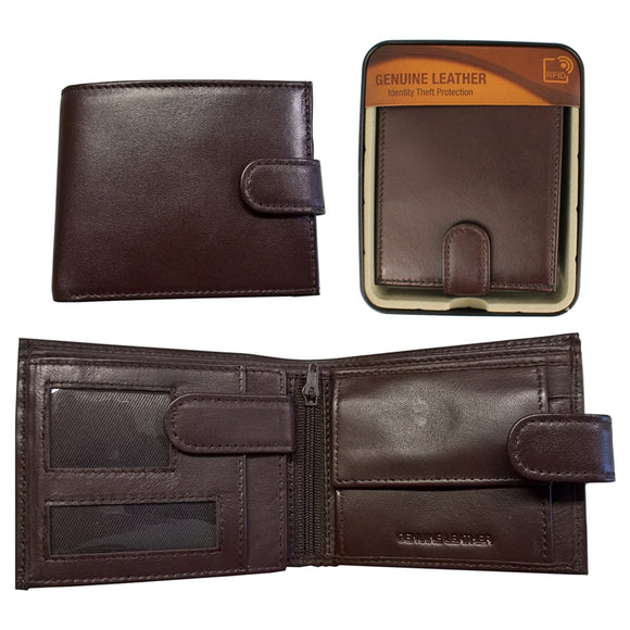WAI008BR RFID SHEEP LEATHER WALLET IN TIN BROWN