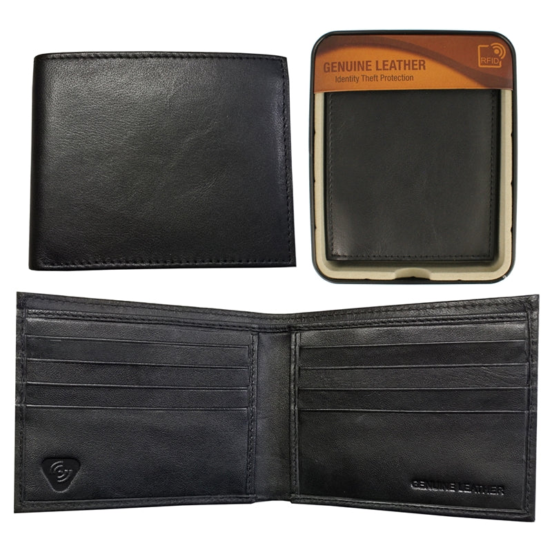 RFID SHEEP LEATHER BILL FOLD WALLET IN TIN BLACK
