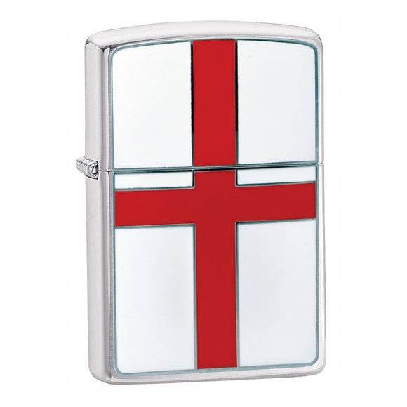 Z200E ZIPPO BRUSHED CHROME LIGHTER ENGLAND FLAG EMBLEM