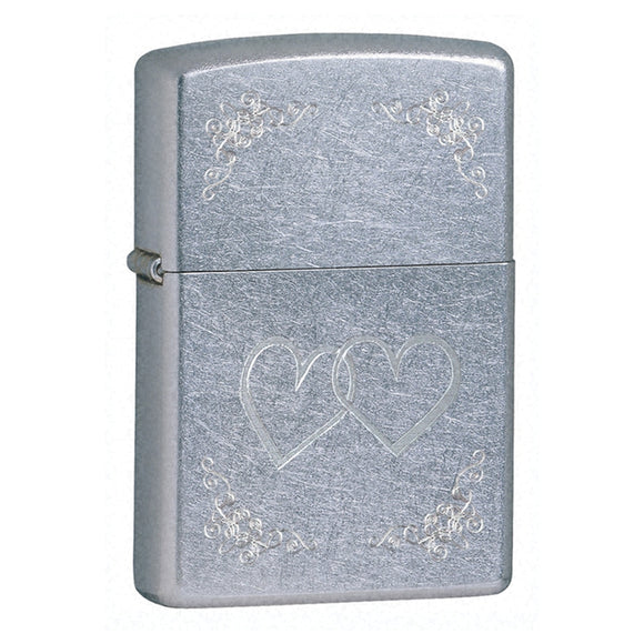 Z24016 ZIPPO STREET CHROME LIGHTER HEART TO HEART