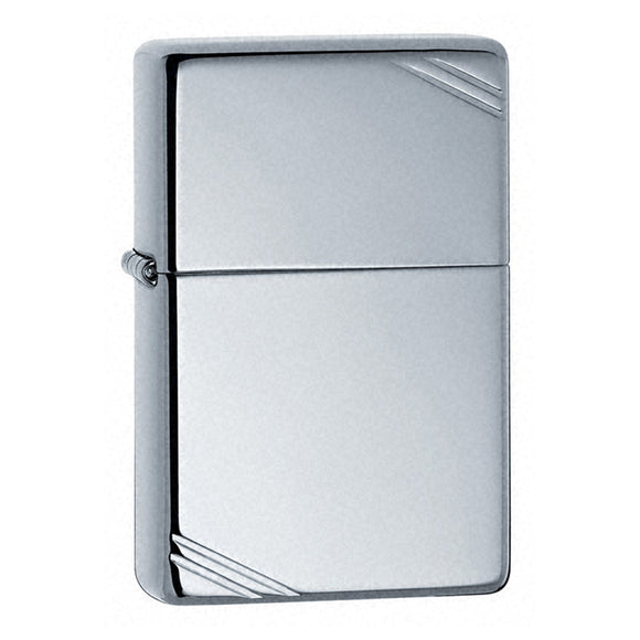 Z260 ZIPPO HIGH POLISHED CHROME LIGHTER VINTAGE WITH SLASHES