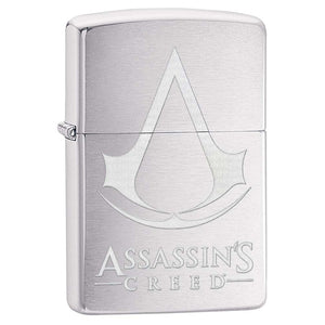 Z29494 ZIPPO LIGHTER BRUSHED CHROME ASSASSIN'S CREED, CREST & NAME