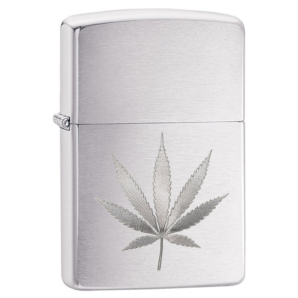 Z29587 ZIPPO BRUSHED CHROME LIGHTER - AUTO ENGRAVED LEAF