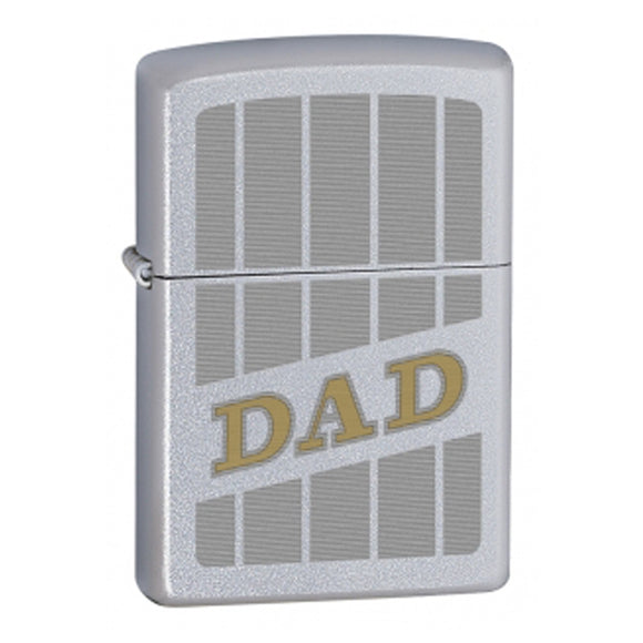 Z60000923 ZIPPO SATIN CHROME LIGHTER DAD WITH STRIPES