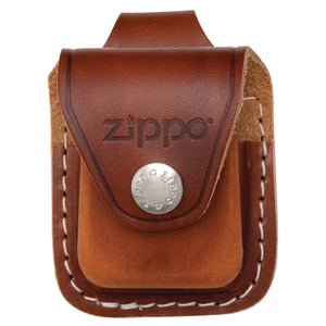 ZIP851 ZIPPO BROWN LEATHER LIGHTER POUCH WITH LOOP LPLB