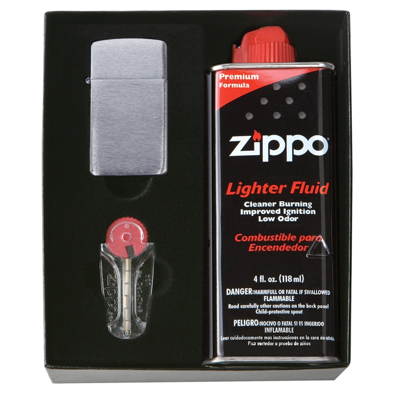 ZIP867 ZIPPO SLIM LIGHTER GIFT KIT 50S INCLUDES 6 FLINT DISPENSER