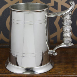 Pewter Tankard 1 Pint 2 Line with Rope Handle EP162