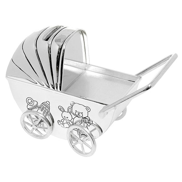 Pram Silver Plated Money Box MT8612