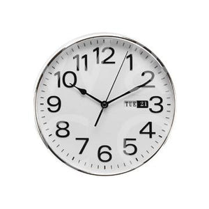 WILLIAM WIDDOP DAY/DATE WALL CLOCK - SILVER