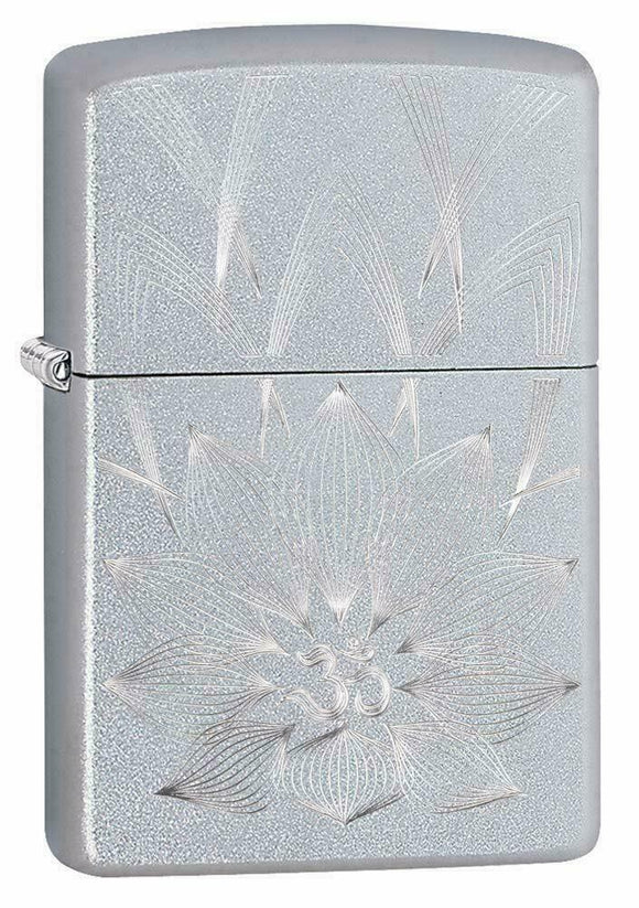 Lotus OHM Design Satin Chrome Zippo Lighter Z29859