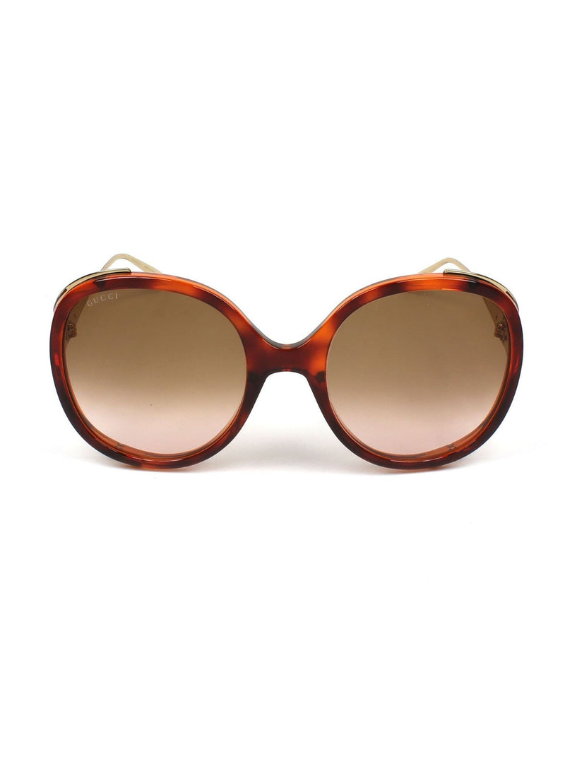 4a4fa0aba6fc6 GG0226S-005 Round Sunglasses - Havana   Gold   Light Brown Gradient ...