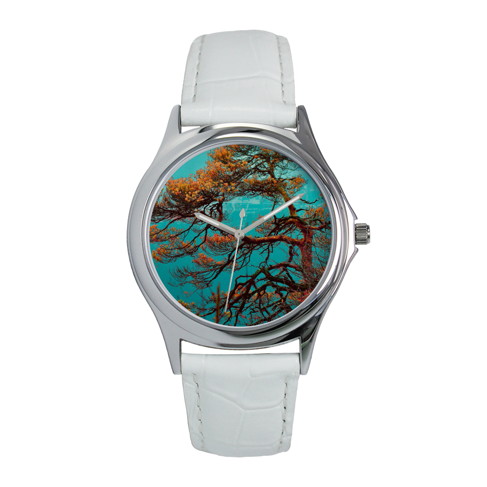 Japanese Tree - White band and blue Designer Watch - Art Beauty Fashion