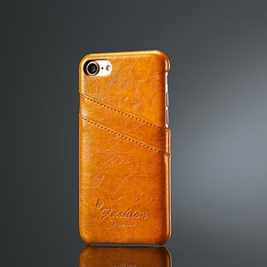 Waxy Leather iPhone 7 7+ Pocket Case - Art Beauty Fashion