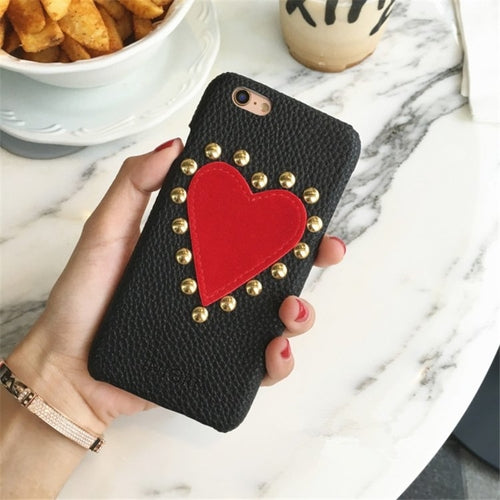 Studded Red Heart iPhone Case - Art Beauty Fashion