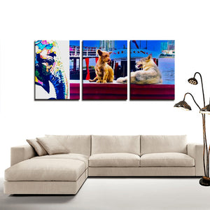 Original Combination of Dogs and an Elephant - 3 Panels Canvas Prints Wall Art for Wall Decorations - Art Beauty Fashion