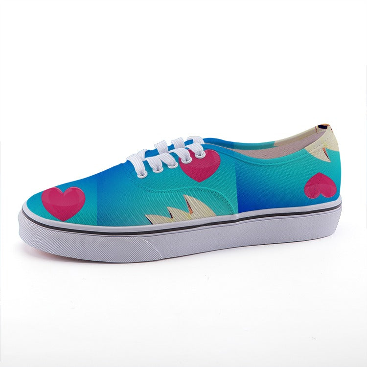 Love Shoe - Low-top fashion canvas shoes blue with pink hearts - Art Beauty Fashion