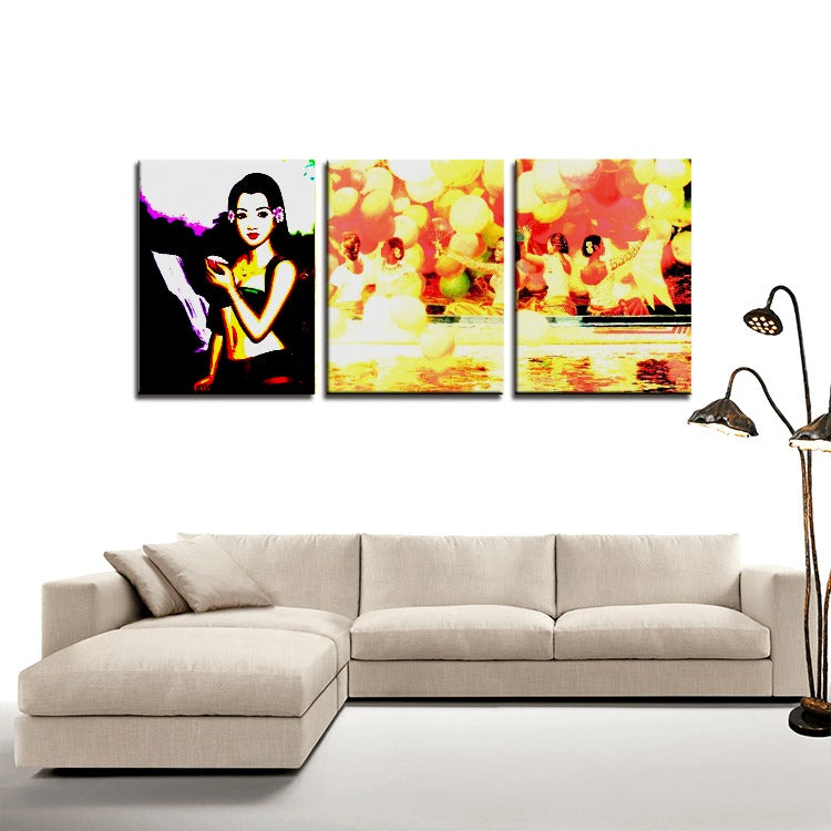 Oriental Woman - Portrait and woman playing on the Mekong river - 3 Panels Canvas Prints Wall Art for Wall Decorations - Art Beauty Fashion