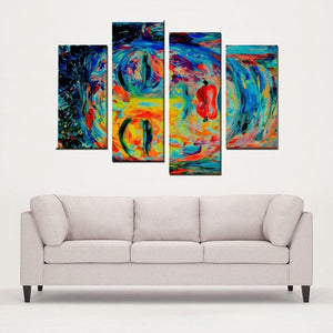Buddha Modern Art - 4 Panels Canvas Prints Wall Art for Wall Decorations - Art Beauty Fashion