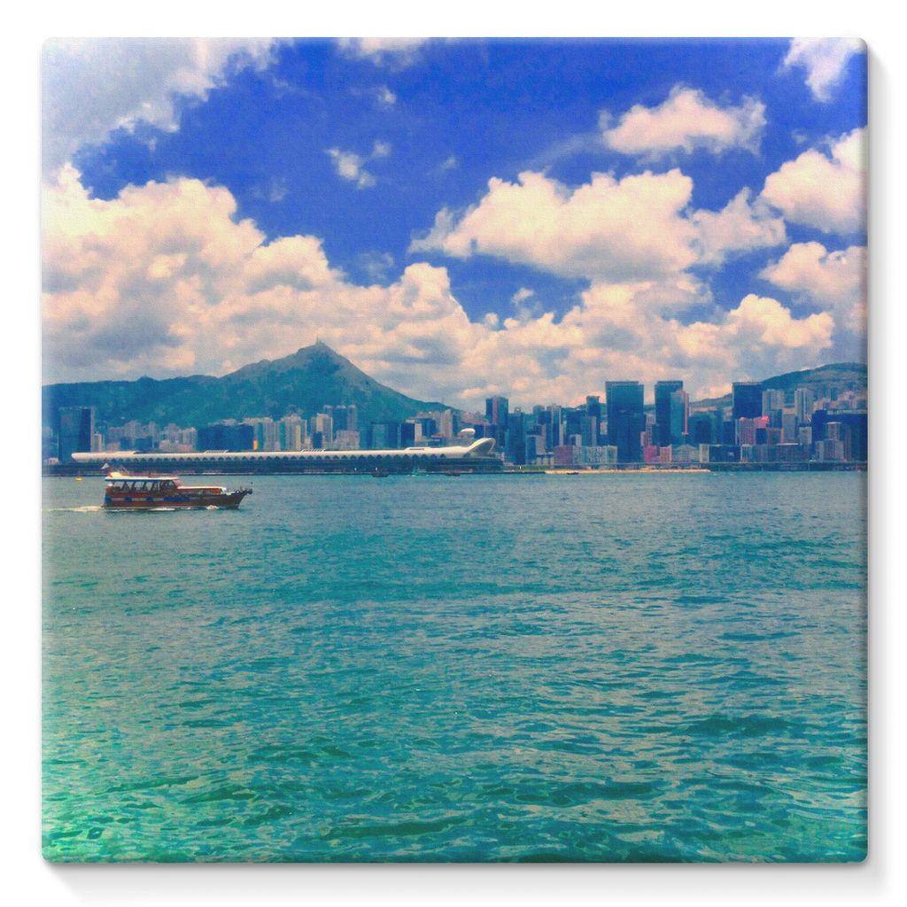 Hong Kong Skyline with ocean and sky - Stretched Eco-Canvas - Art Beauty Fashion
