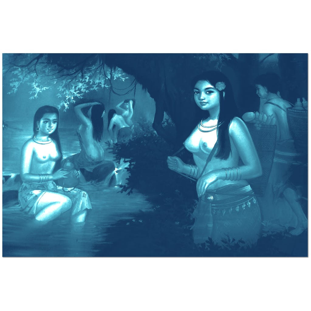 Naked Cambodian Girls having a bath - Canvas - Art Beauty Fashion