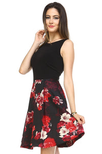Women's A-Line Floral Print Dress - Art Beauty Fashion