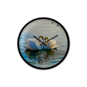Romantic Swan Love - Non-Ticking Silent Wall Clock with Modern and Nice Design for Wall Decoration (Black) - Art Beauty Fashion