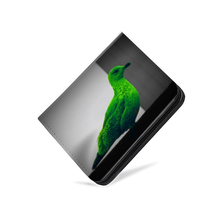 Stylish Green Seagull Designer - PU Leather Multi-Card Short Bifold Wallet - Art Beauty Fashion