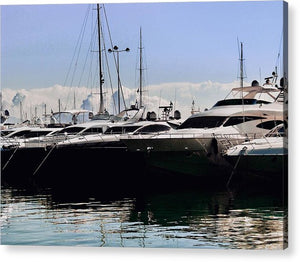 Boat Harbour with luxury yachts  - Acrylic Print - Art Beauty Fashion