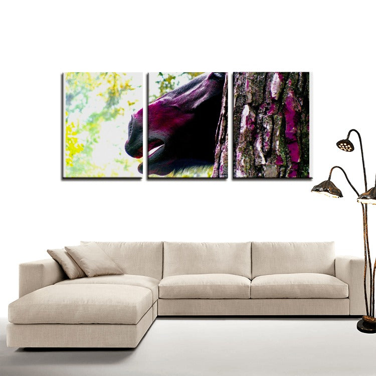 Wild Horse in Forest Study - 3 Panels Canvas Prints Wall Art for Wall Decorations - Art Beauty Fashion