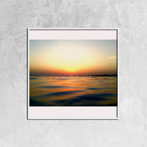 Ocean Sunrsise - Canvas Prints Wall Art for Home Decorations Stretched White Square Frame Ready to Hang, 12ⅹ12 inch - Art Beauty Fashion