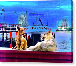 Dogs And The Mekong River - Canvas Print - Art Beauty Fashion
