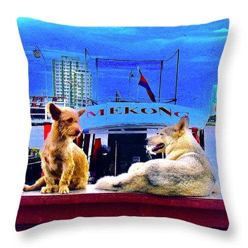 Dogs And The Mekong River - Throw Pillow - Art Beauty Fashion